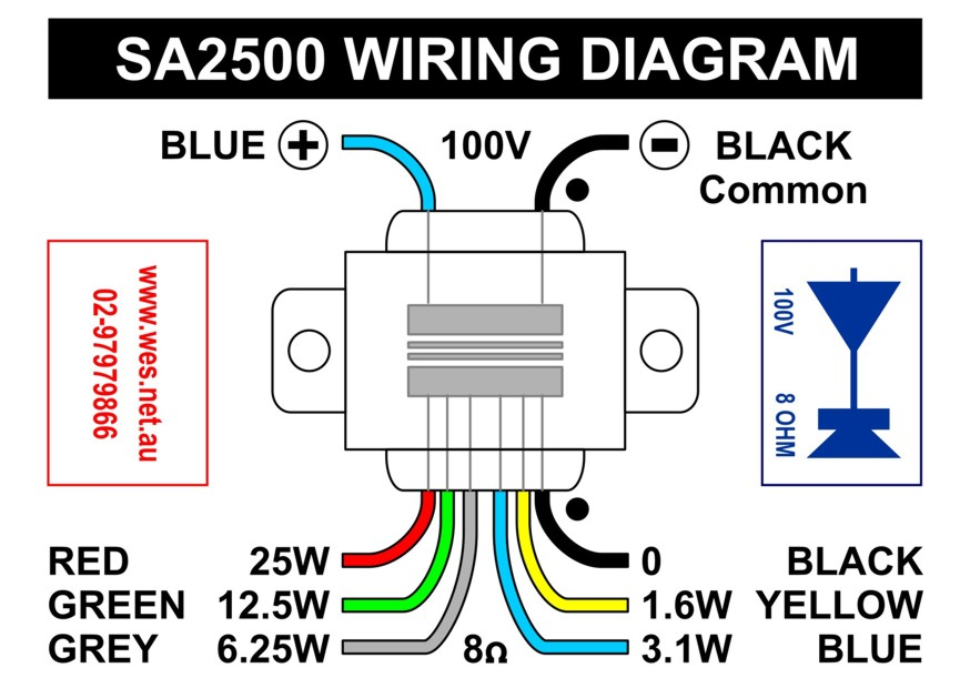 SA2500_WiringDiag_A6 70v speaker wiring diagram valcom paging system wiring diagram 70v speaker wiring diagram at creativeand.co